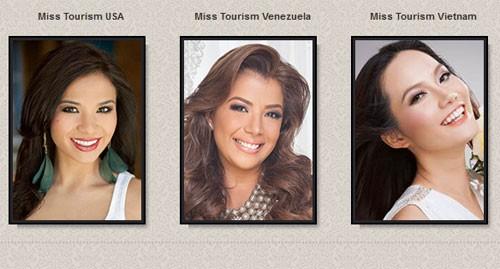 Hình ảnh Diệu Linh (phải) đăng trên website của cuộc thi Hoa hậu Du lịch Quốc tế 2014 dưới danh hiệu là