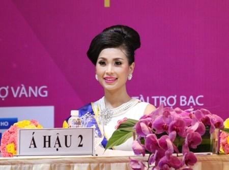 Á hậu Diễm Trang trong buổi họp báo sau đăng quang (Ảnh: Trí Hòa)