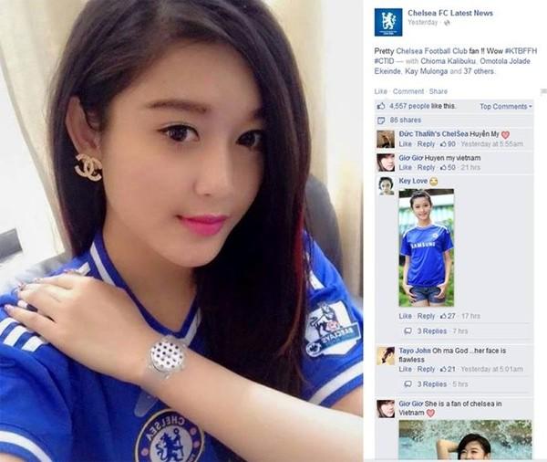 Hình ảnh Á hậu Huyền My được đăng tải trên fanpage có 7 triệu người theo dõi của CLB Chelsea.