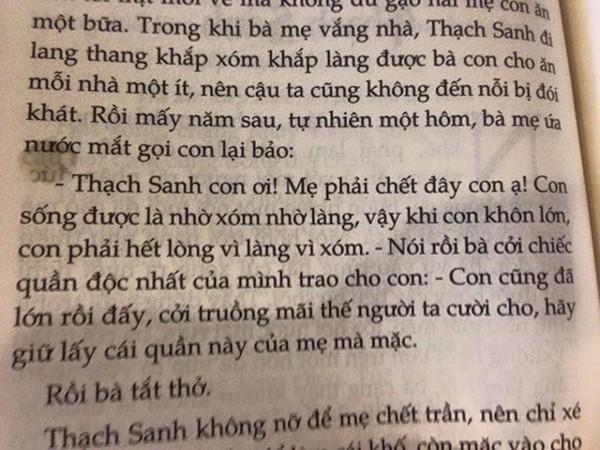 Những đoạn văn trong truyện cổ tích Thạch Sanh gây tranh cãi