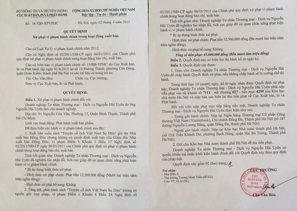 Cục Xuất bản ra Quyết định xử phạt ngày 2/4