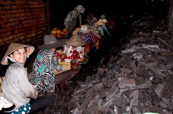 Trong một cơ sở đóng gói than xuất khẩu ở xã Tân Thành - Ảnh: Tấn Đức