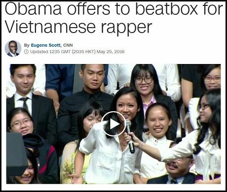 """Hãng tin CNN (Mỹ) đăng tải bài viết """"Ông Obama đề nghị beatbox cho nữ rapper Việt Nam"""""""
