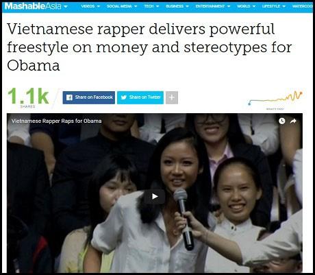 """Tờ tin tức Mashable (Mỹ) đưa tin """"Rapper Việt Nam biểu diễn ngẫu hứng trước ông Obama"""""""