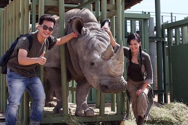 Hai ca sĩ Hồng Nhung, Hà Anh Tuấn kêu gọi bảo vệ loài động vật hoang dã tê giác. Ảnh TTO