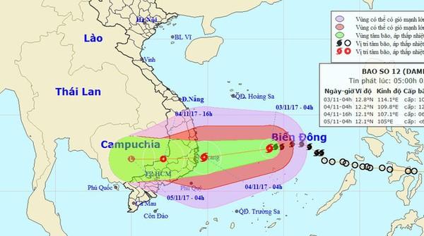 Bão mạnh lên, từ Quảng Trị đến Bình Thuận mưa lớn - Ảnh 1.