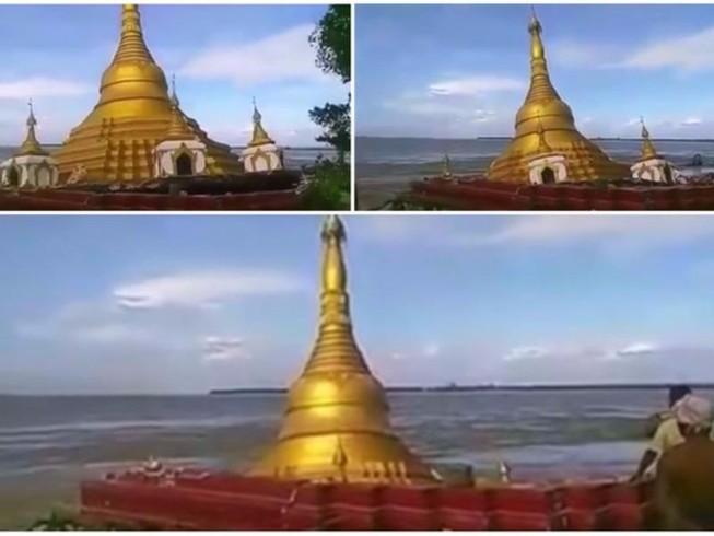 Chùa vàng ở Myanmar bị nước lũ nuốt chửng