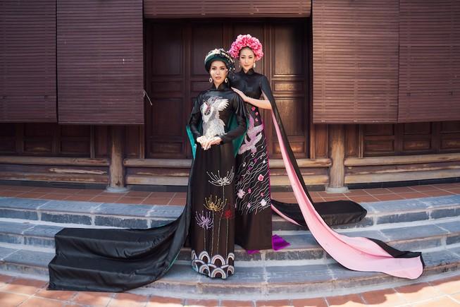 Minh Tú, Ngân Khánh lạ lẫm với áo dài lụa, lãnh truyền thống