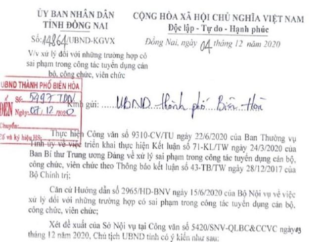 Đồng Nai: Xử lý sai phạm tuyển dụng 358 cán bộ, viên chức