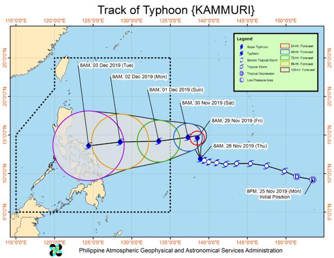Siêu bão Kammuri liên tục thay đổi