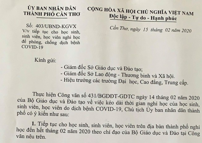 Cần Thơ: 'Né' COVID-19, học sinh nghỉ tiếp đến hết tháng 2