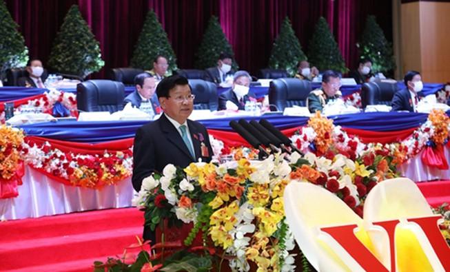 Tân Tổng Bí thư Thongloun Sisoulith phát biểu bế mạc Đại hội. Ảnh: nhandan.com.vn
