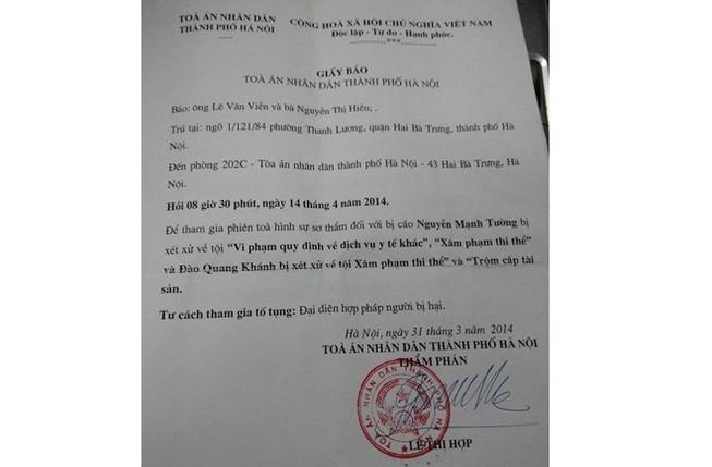 Vụ Cát Tường: Gia đình nạn nhân không đồng ý với giấy báo của Tòa án