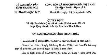 Thanh Hoá và Quyết định 1726