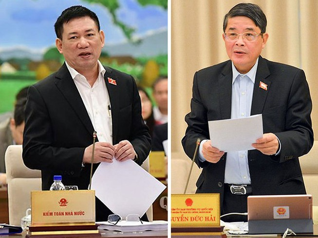 Tổng Kiểm toán Nhà nước Hồ Đức Phớc và Chủ nhiệm Ủy ban Tài chính - Ngân sách Nguyễn Đức Hải.