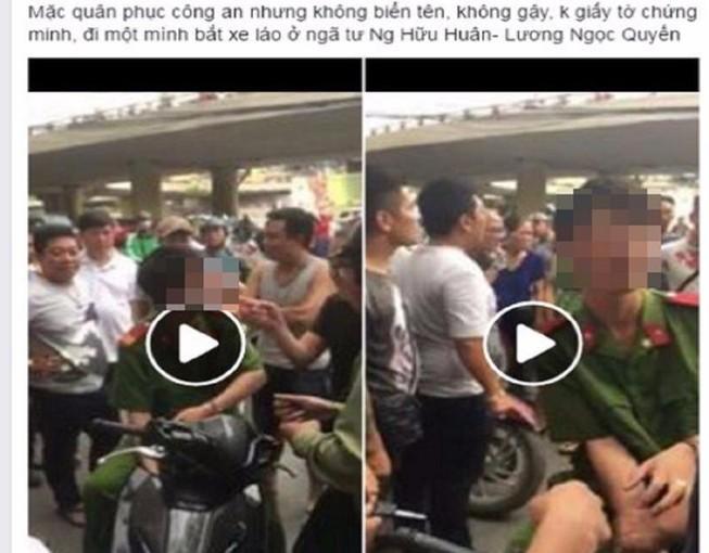 1 thanh niên mặc đồ công an có biểu hiện say, chặn xe