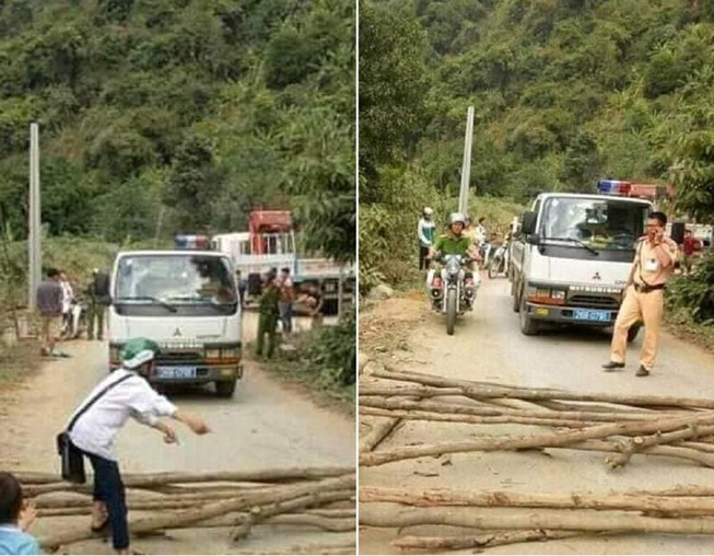 Dân mang cây chặn đường CSGT để đòi xe vi phạm