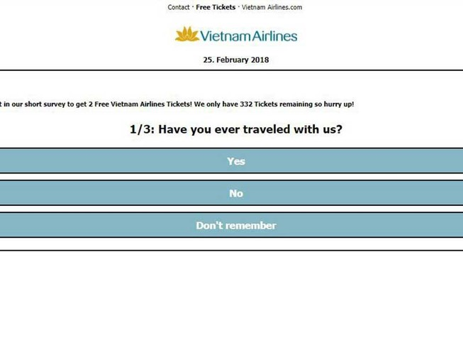 Nguy cơ lộ thông tin cá nhân vì vé máy bay miễn phí