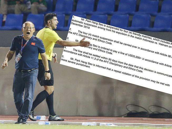 Ông Park bị cấm chỉ đạo bốn trận…