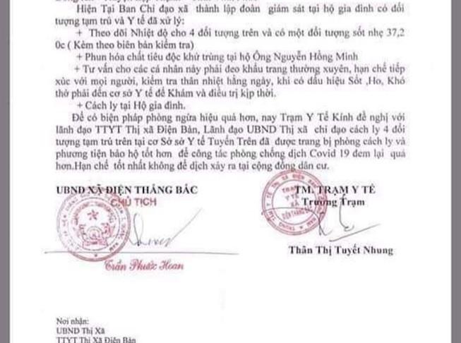Theo dõi 4 người từ Vĩnh Phúc đến tạm trú ở Quảng Nam