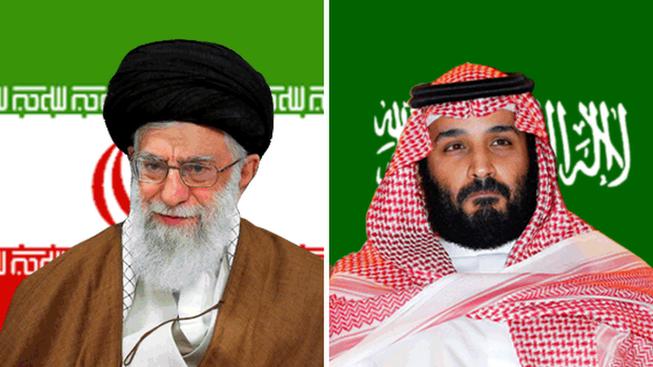 Lãnh đạo Iran Ayatollah Ali Khamenei (trái) và Thái tử Saudi Mohammed bin Salman