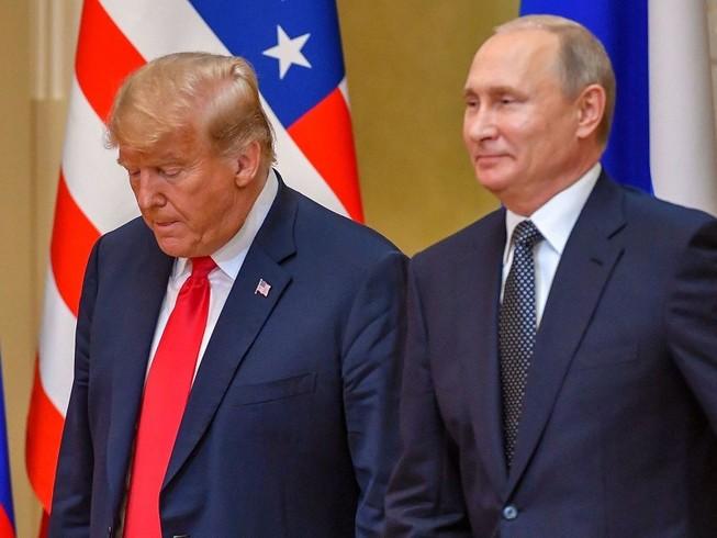 Tổng thống Mỹ Donald Trump và Tổng thống Nga Vladimir Putin gặp nhau ở Helsinki, Phần Lan năm 2018. Ảnh: AFP