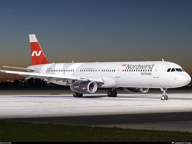 Chiếc máy bay Airbus A321-200 có số đuôi VQ-BRS của hãng hàng không Nordwind Airlines hạ cánh khẩn cấp ở TP Antalya của Thổ Nhĩ Kỳ. Ảnh: JETTRAK