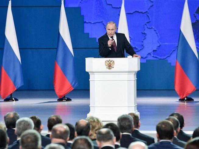 Ngày 15-1, Tổng thống Nga Vladimir Putin đã đọc Thông điệp Liên bang năm 2020 trước Quốc hội Liên bang Nga. Ảnh: TASS
