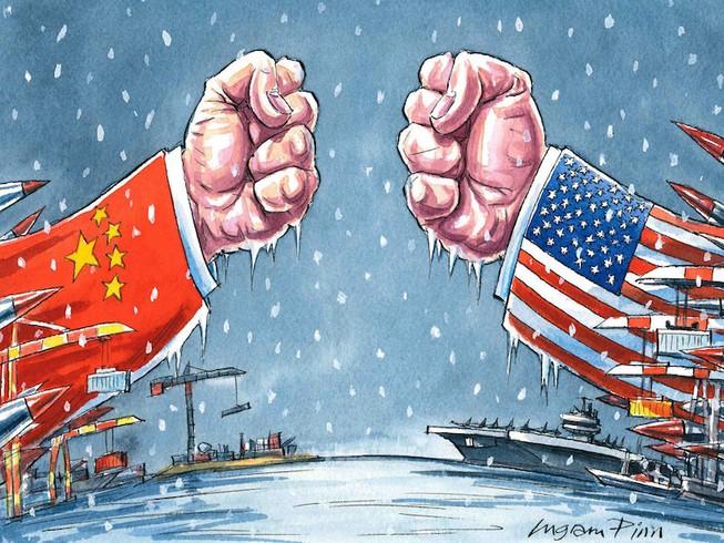 Ảnh: Thương chiến Mỹ - Trung làn nền kinh tế Trung Quốc suy thoái mạnh. Ảnh: FINANCIAL TIMES