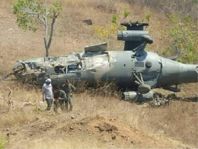 Một chiếc trực thăng Cheetah của Ấn Độ cừa rơi ở khu vực Kashmir. Ảnh: MSN