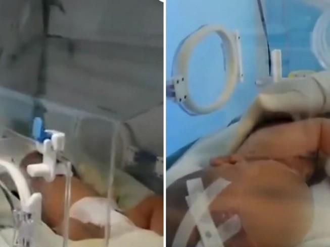 Tiếu Tiếu trong thời gian mới sinh ra ở bệnh viện Nhi Đồng Vũ Hán. Ảnh: CCTV