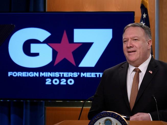 Ngoại trưởng Mỹ Mike Pompeo chủ trì hội nghị trực tuyến của nhóm lãnh đạo ngoại giao G7. Ảnh: RT