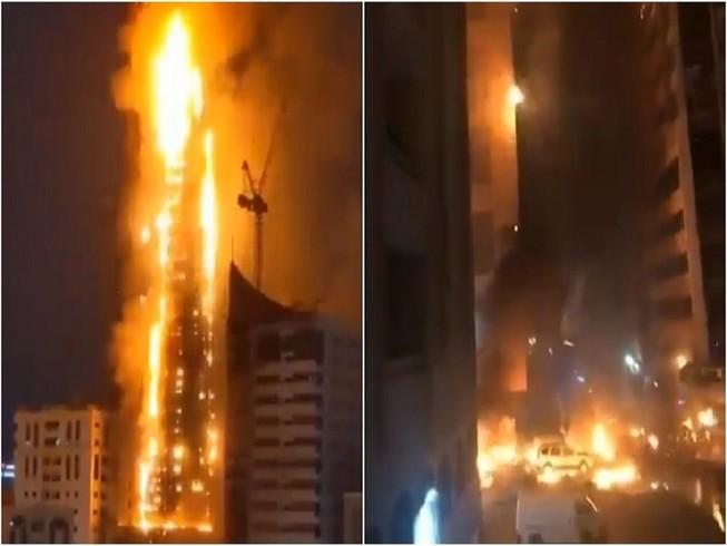 Tháp Abbco 48 tầng ở Sharjah (UAE) cháy phừng phực tối 5-5. Ảnh: RT