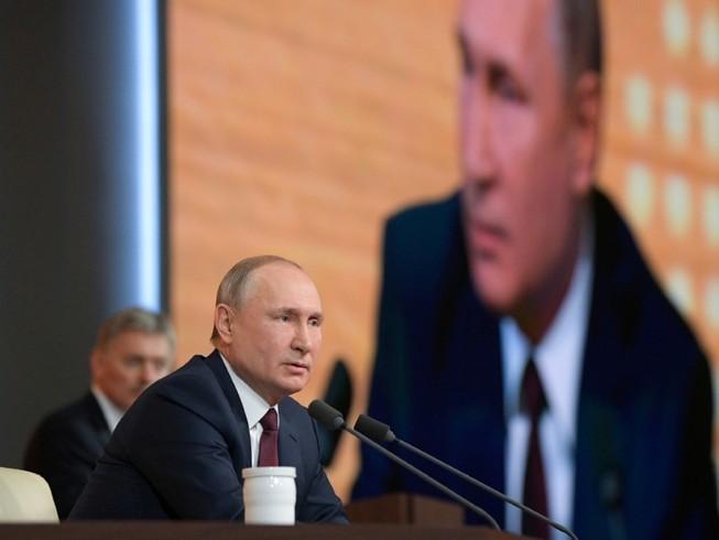 Tổng thống Nga Vladimir Putin trong một cuộc họp báo ở thủ đô Moscow vào tháng 12-2019. Ảnh: TASS
