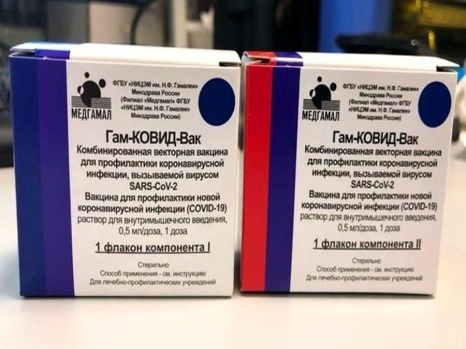 Những lô vaccine ngừa COVID-19 đầu tiên trên thế giới do Nga sản xuất được chụp ở Moscow.