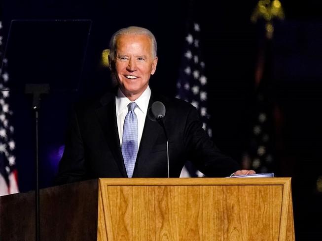 Tổng thống tân cử Joe Biden trong cuộc họp báo ngày 7-11 ở bang Delaware. Ảnh: AP