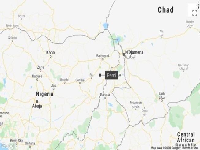 Bản đồ chỉ vị trí làng Pemi, bang Borno, Đông Bắc Nigeria. Ảnh: CNN