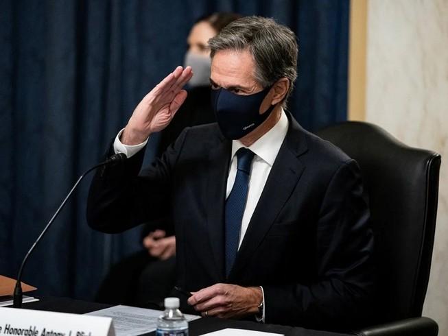 Ông Antony Blinken tại phiên điều trần ở Thượng viện hôm 19-1. Ảnh: REUTERS