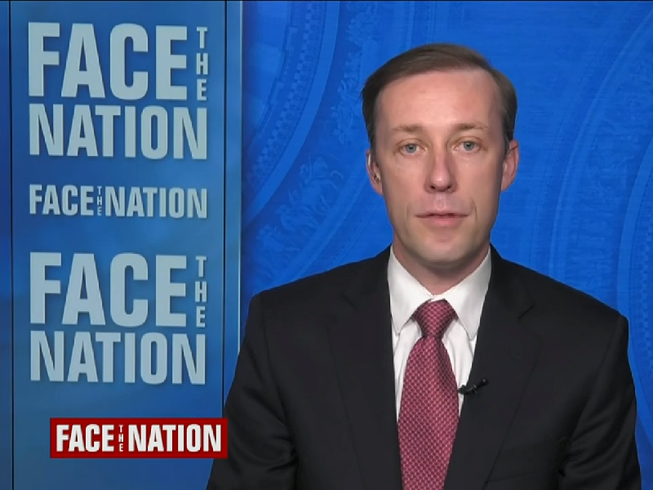 """Cố vấn an ninh quốc gia Mỹ Jake Sullivan trong chương trình """"Face the Nation"""" hôm 21-2. Ảnh chụp màn hình CBS"""