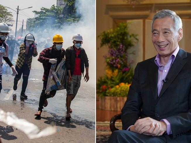 Thủ tướng Singapore Lý Hiển Long (phải) ngày 2-3 trả lời phỏng vấn của đài BBC về khủng hoảng chính trị ở Myanmar. Ảnh: MCI