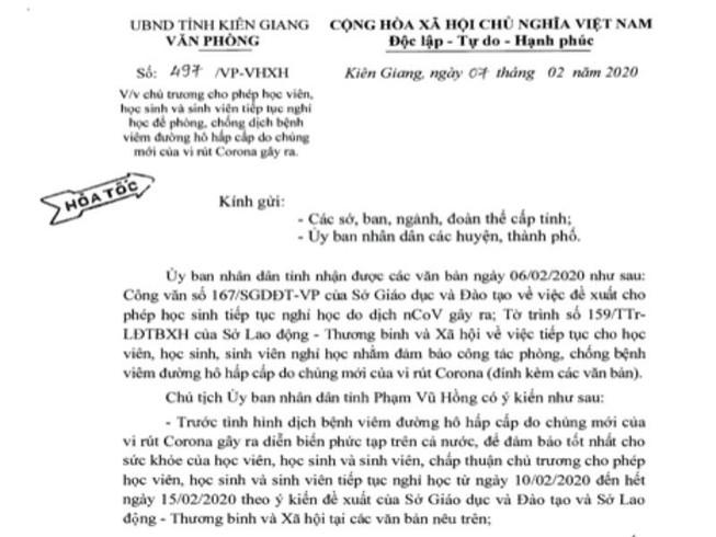 Kiên Giang, Hậu Giang đồng ý cho học sinh tiếp tục nghỉ học