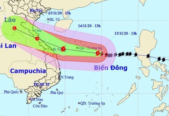 Bão số 13 đang tiến nhanh về vùng biển Quảng Bình - Quảng Ngãi