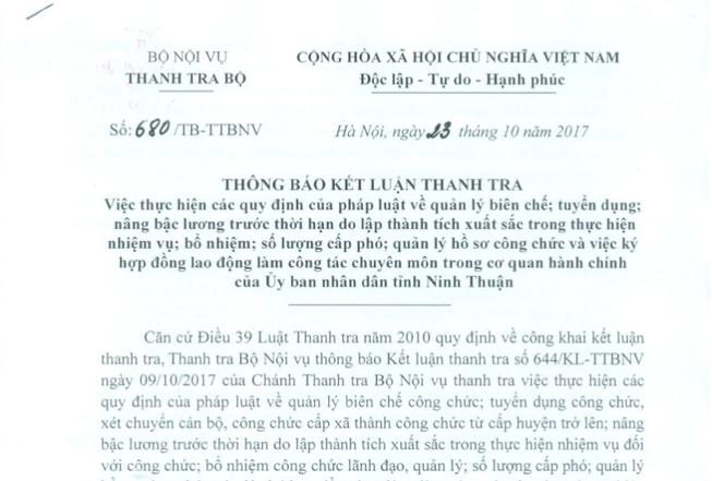 Bộ Nội vụ: Ninh Thuận bổ nhiệm 53 cán bộ chưa đủ chuẩn