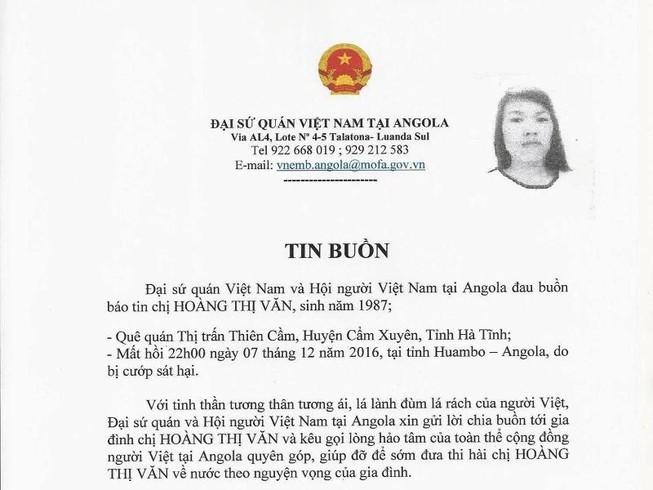 Nữ lao động người Việt tử vong ở Angola do bị cướp đốt