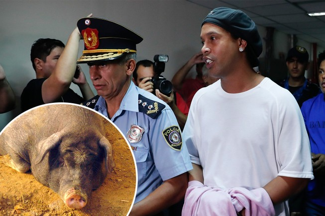 Ronaldinho ghi 5 bàn giúp bạn tù vô địch, nhận thưởng heo sữa
