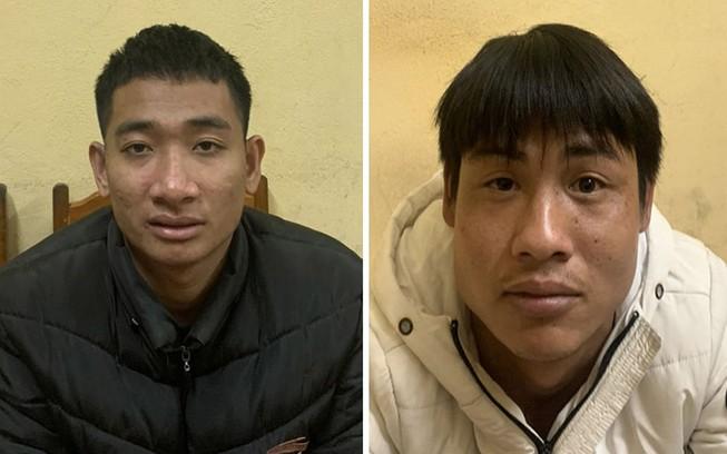 Lê Đình Bình và Trương Công Hùng bị tạm giữ để điều tra về hành vi cướp giật tài sản. Ảnh: CA