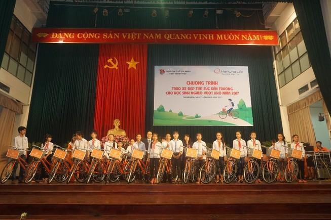 Trao tặng 145 xe đạp cho học sinh nghèo Thanh Hóa