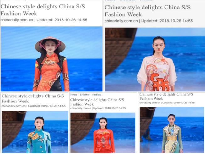Các người mẫu trình diễn trang phục giống hệt áo dài Việt Nam. Ảnh chụp màn hình