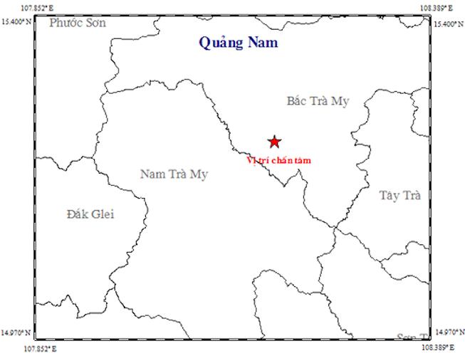 Trong 1 giờ, Quảng Nam xảy ra liên tiếp 4 trận động đất
