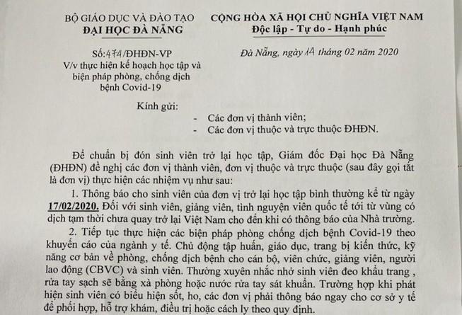 Sinh viên Đà Nẵng sẽ đi học lại từ ngày 17-2